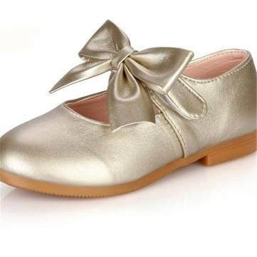 Filles bowknot pure couleur crochet boucle princesse robe chaussures enfants doux appartements