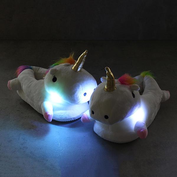 LED Cartoon Plush White Glowing Light Plush Slippers
