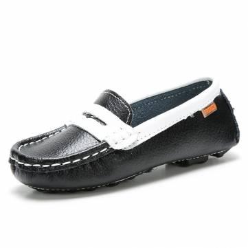 Enfants chaussures enfants chaussures en cuir bateau chaussures garcons filles glissent sur des mocassins