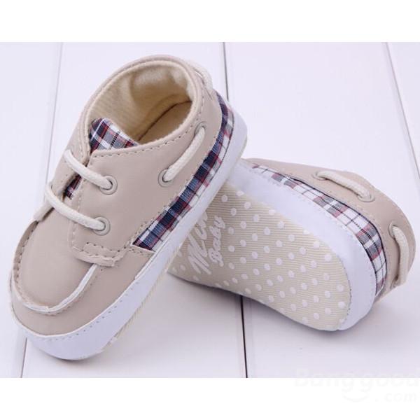Bébé style classique bottes chaussures à carreaux occasionnel bambin