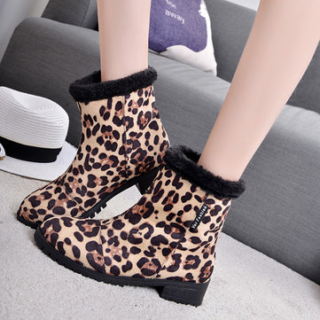 Les femmes d'hiver bottes doublure en fourrure de léopard garder en peluche bottes courtes en plein air chaud occasionnels