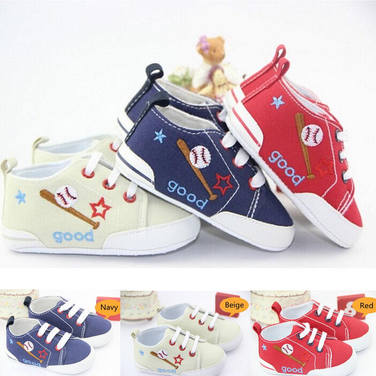 Bébé lacets baskets semelle souple chaussures crèche infantile prewalker garcon fille bébé&