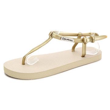 Mesdames les femmes d'été string t-strap sandales plates plage respirante tongs