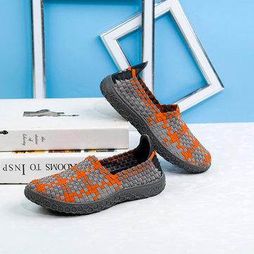 Unisexes occasionnels chaussures plates du sport courir dérapant respirant tricot chaussures de sport