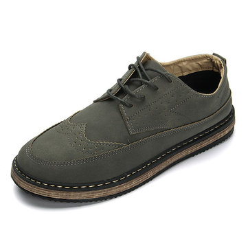 Hommes& Casual& Retro& British& Style& Brogue Cuir Oxfords Chaussures
