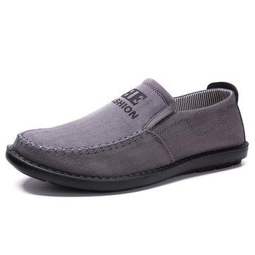 Hommes d'affaires à plat en coton décontracté slip doux extérieur sur chaussures oxford