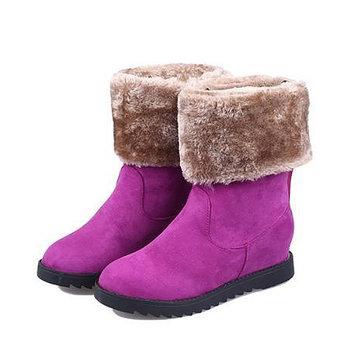 Les femmes hiver bottes chaudes bottes de neige se replient augmenté à mi-mollet bottes de neige