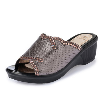 Slip& On& Wedge& Sandals& Casual& Outdoor Beach Soft Sloe Slipper