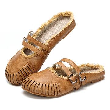 Sandales& plates& à& l'extérieur& ronde& à pied ronde décontractée