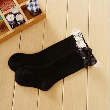 Chaussettes de haute genou bébé filles coton enfants de l'école de la dentelle