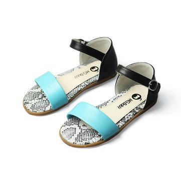 Filles poisson bouche sandales d'été des enfants de bonbons de couleur à bout ouvert en cuir appartements plage chaussures enfants causales