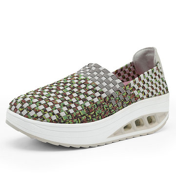 Chaussures de Semelle de Bascule Colorées Chaussures de Tricot Manuelles Casuelles Glissantes