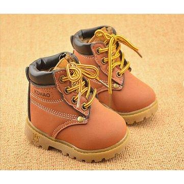 Bébé enfants fille garcon pu bottes de neige en cuir fourrure hiver bordée chaussures chaudes