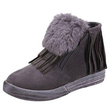 Hiver femmes chaudes pompon plat frange fourrure bottines occasionnels chaussures de neige molle