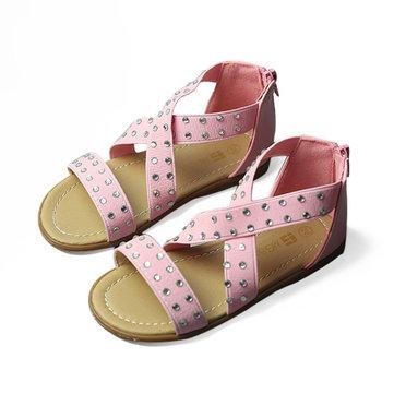 Robe sandales d'été pour enfants filles léopard chaussures enfants traversent bande élastique strass huarache