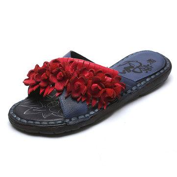 Sandales& décontractées& pour& femmes& à& fleurs plates Sandales décontractées en cuir véritable