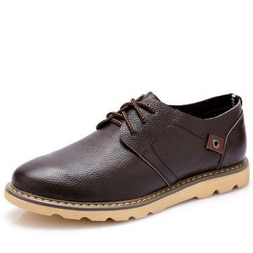 Big cuir des hommes de taille richelieus occasionnels lacent des mocassins plats chaussures de style britannique