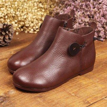 Bottes court en cuir femmes décontracté slip doux à l'extérieur sur des chaussures plates
