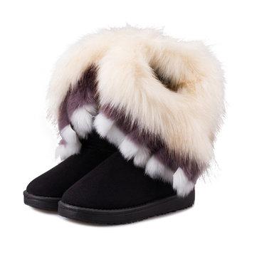 Les femmes hiver garder des bottes de neige chaudes fourrures bottes de coton chaussures à bout rond