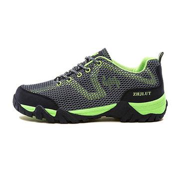 Grande taille unisexe dentelle extérieure jusqu'à chaussures de sport chaussures de randonnée respirante