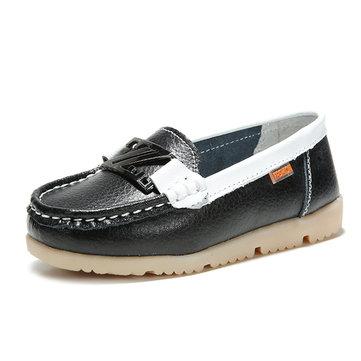 Enfants chaussures casual flats chaussures en cuir à semelle souple glissent sur des mocassins bateau chaussures