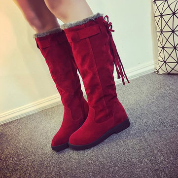 Dames d'hiver au chaud sur le genou bottes glands bout rond bottes de neige bottes de neige chaudes
