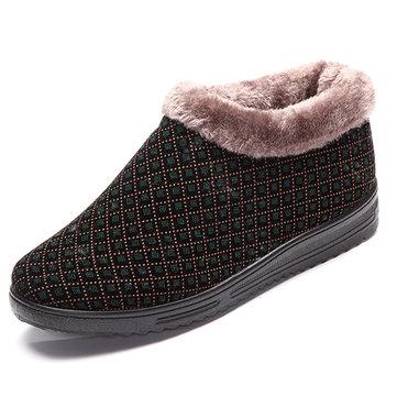 Doublure en fourrure artificielle chaude bottes de neige florale ronde pour les femmes