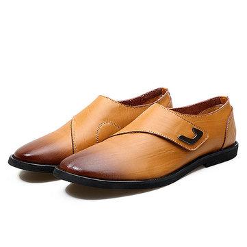 Hommes& Genuine& Cuir& Casual& Business& Hook Loop Conduite Oxfords