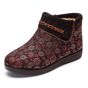 Chaussures en coton femmes doublure en fourrure garder chaude fleur occasionnels bottes plates en plein air