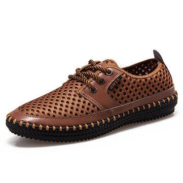 Hommes richelieus maille respirante sneakers sueur absorption chaussures de plein air douce occasionnels