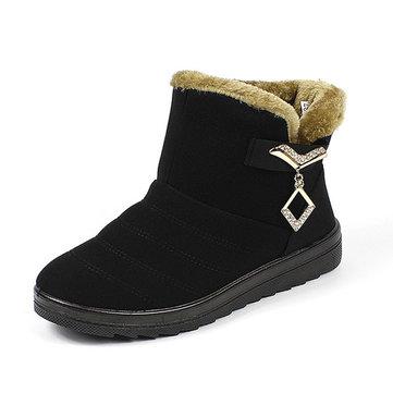 Nous taille 5-10 hiver femmes bottes de neige coton fourrure doublure en peluche chaussures plates à l'extérieur