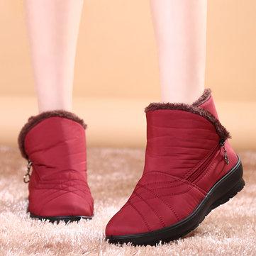Grandes femmes de taille garder des bottes de neige chaudes tirette bottes courtes bottes de neige imperméables