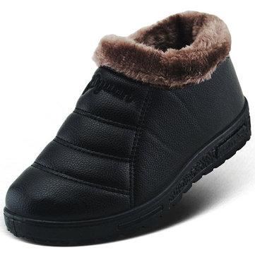 Glissade de doublure de coton chaude décontractée sur les bottes de nez bout rond orteil
