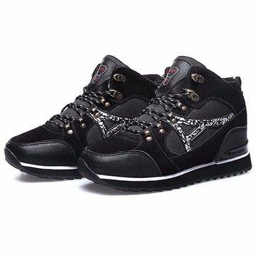 Chaussures de sport hommes hiver bottes de neige fourrure doublure de coton courantes chaussures plates à l'extérieur