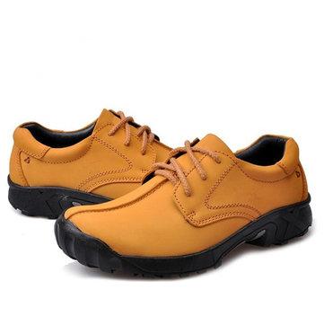 Hommes décontracté en plein air lacets plat alpinisme en cuir doux chaussures confortables