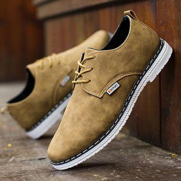 Dentelle hommes occasionnels chaussures d'affaires en plein air mode plat richelieus à bout rond