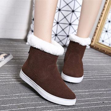 Dames d'hiver garder chaussures chaudes tirette bottes de neige à talons bas bottes de coton de neige