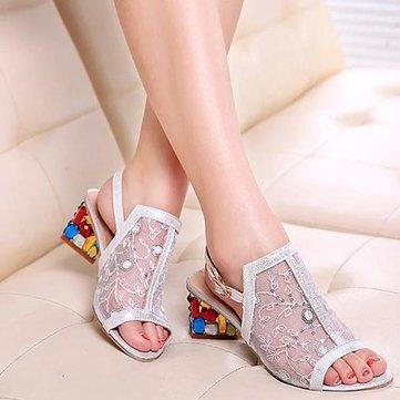 Les femmes d'été chaussures chics glisser sur la plate-forme sandales cristal plage talon sandales
