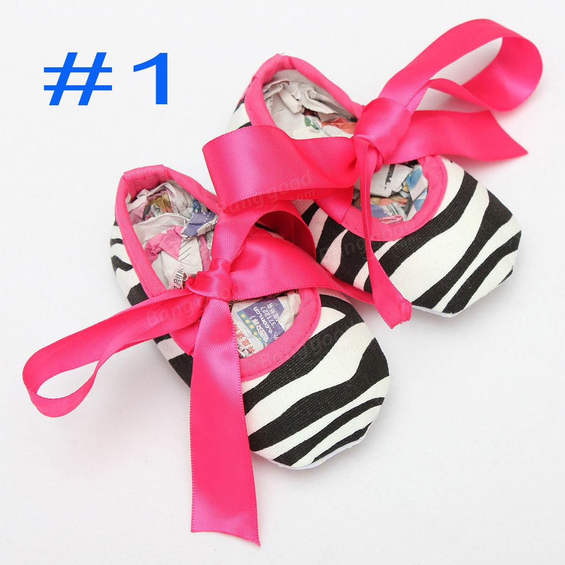 Bébés filles coton chaussures crèche semelle souple damassé imprimé arc 0-18m&
