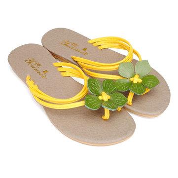 Douce fleur chaussures plates occasionnels tongs pantoufles