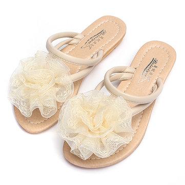 Dentelle lanières floral string pantoufles plates plage tongs sandale de chaussures