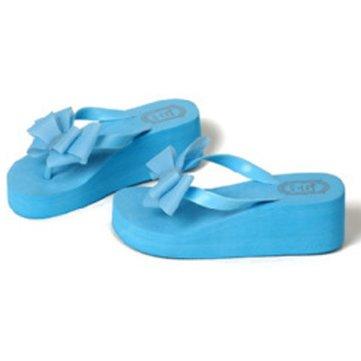 La plate-forme des femmes mi talon tongs sandales de plage bowknot pantoufles
