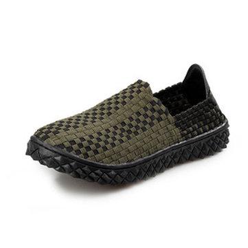 Mens étirer tricot chaussures occasionnelles lastique enfilable plate couture chaussures de sport