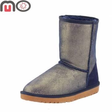 Mo nouvelle hiver en daim chaussures de femmes de mode fourrure garder au chaud à faible talon plat à mi-mollet bottes de neige