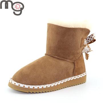 Mg nouvelles femmes d'hiver en peau de mouton chaussures plates de laine à talons bas bottes mi-mollet mode neige chaussures