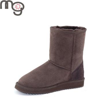 Mg nouvelle femmes d'hiver en laine de mouton garder mode chaude bout rond talon bas à mi-mollet bottes de neige