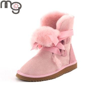 Mg nouvelles femmes d'hiver en peau de mouton en laine à talons bas chaussures plates garder à mi-mollet bottes de neige chauds