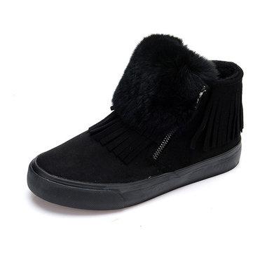 Les femmes d'hiver de coton en peluche bottes de neige garder glands extérieurs occasionnels chauds flats chaussures