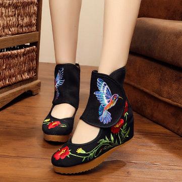 Taille nous 5-10 femmes bottes de plein air occasionnels broderie vent national bottes courtes plates florales