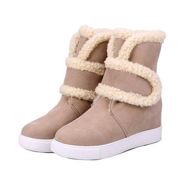 Les femmes hiver bottes plates exterieurs garder des bottes chaudes de neige de mode casual en peluche